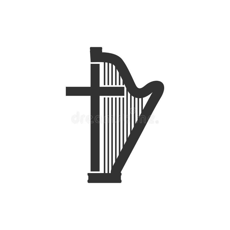 Insignia musical Arpa y cruz ilustración del vector