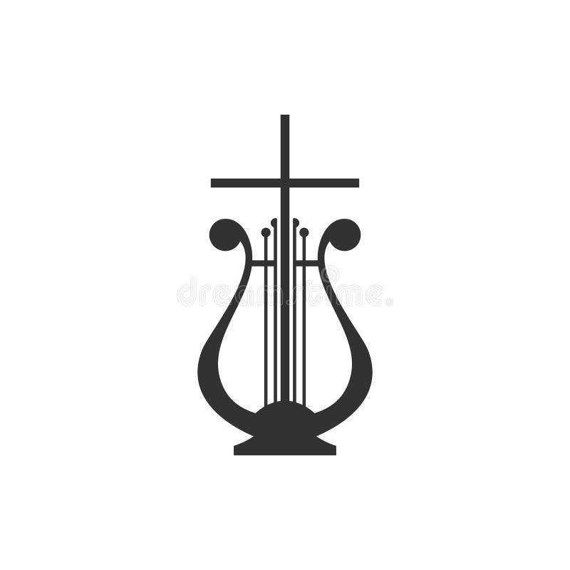 Insignia musical Arpa y cruz stock de ilustración