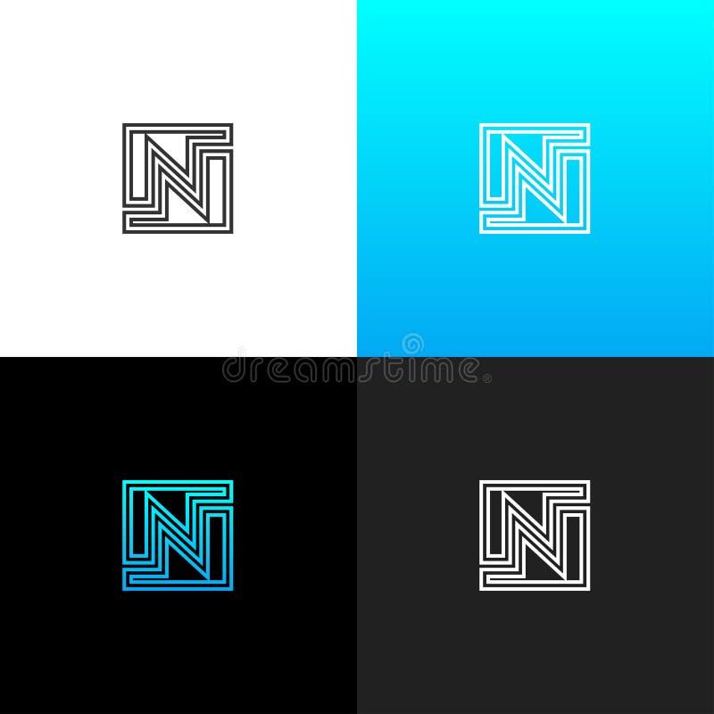 Insignia N Logotipo linear de la letra n para las compañías y las marcas con una pendiente azul ilustración del vector