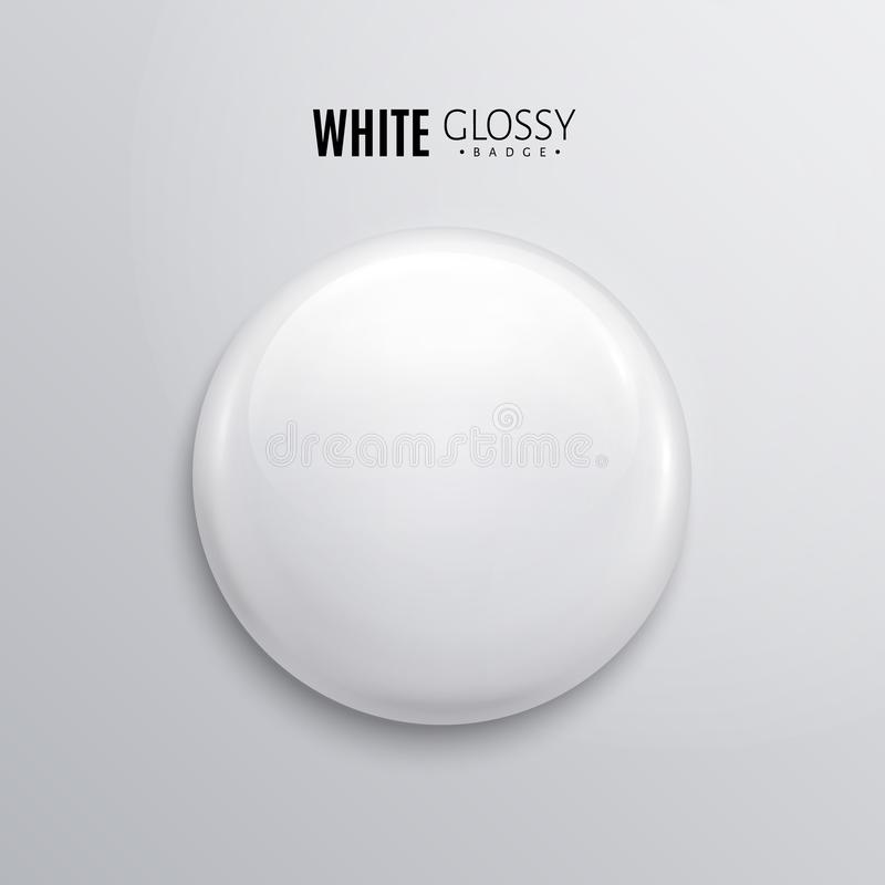 Insignia o botón brillante blanca en blanco 3d rinden Perno plástico redondo, emblema, etiqueta voluntaria Vector stock de ilustración