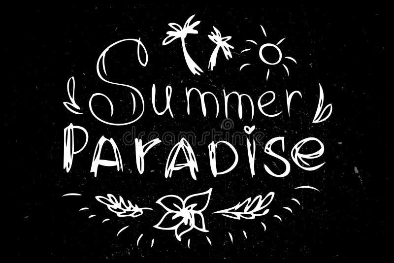 Insignia o etiqueta dibujada mano retra del vintage del verano, stock de ilustración