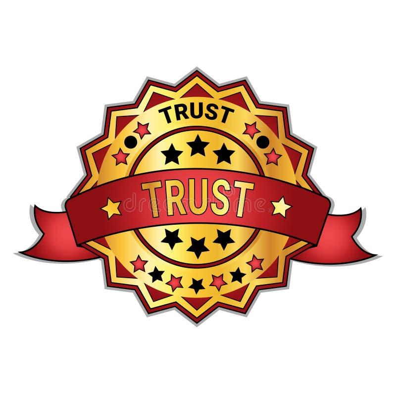Insignia o etiqueta engomada de la confianza aislada en muestra de oro de la garantía del fondo blanco libre illustration