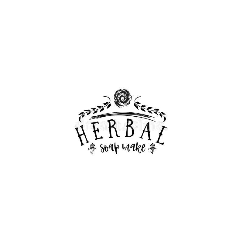 Insignia para las pequeñas empresas - el jabón herbario del salón de belleza hace Etiqueta engomada, sello, logotipo - para el di libre illustration