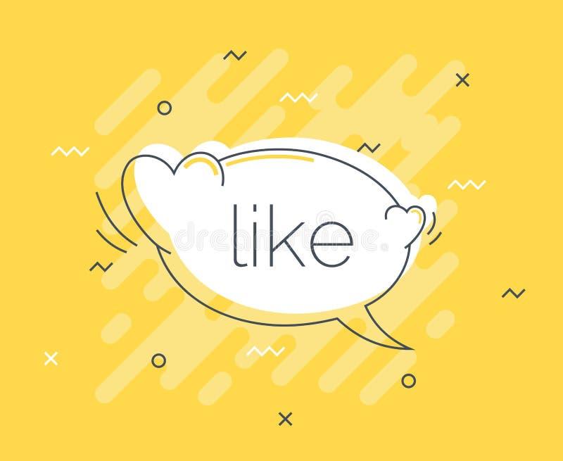 Insignia rápida de las extremidades con como la burbuja del discurso Vector plano de moda en fondo amarillo Ejemplo del vector de libre illustration