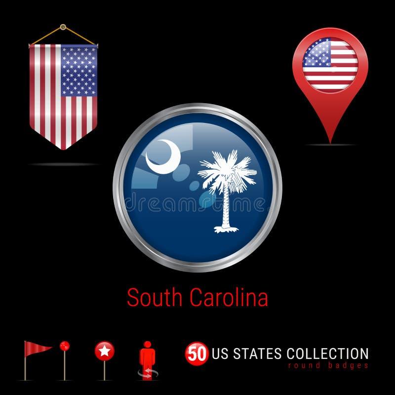 Insignia redonda del vector con la bandera del estado de Carolina del Sur los E.E.U.U. Bandera del banderín de los E.E.U.U. Indic stock de ilustración