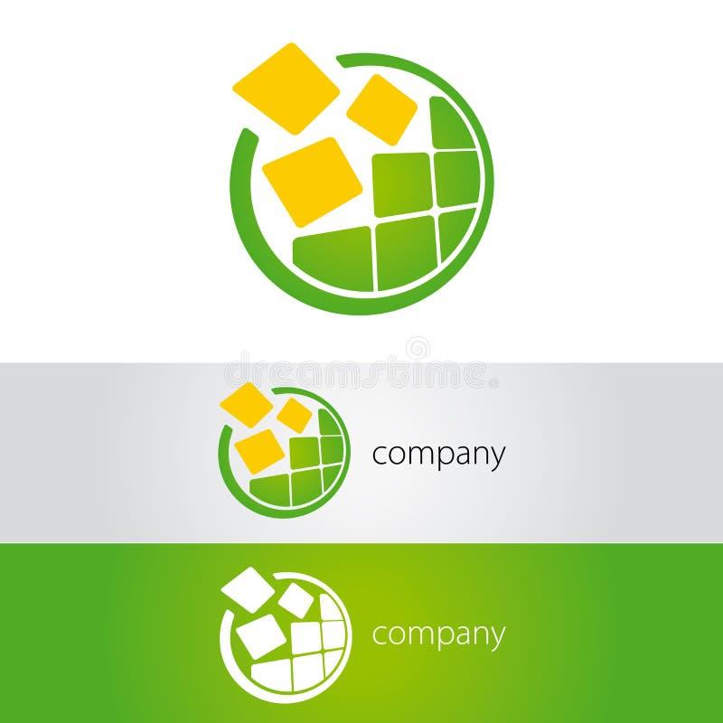Insignia redonda del verde amarillo ilustración del vector
