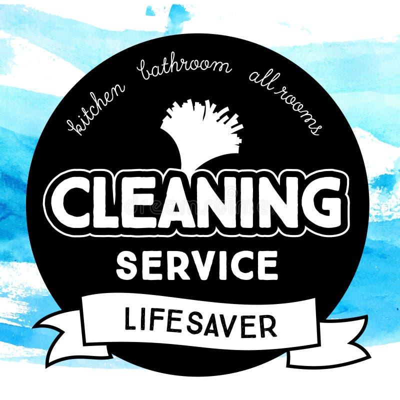 Insignia redonda del vintage para el servicio de limpieza con polvo stock de ilustración