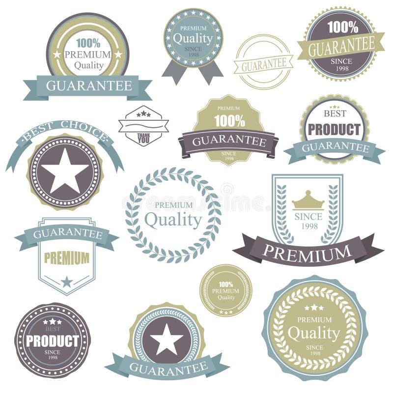 Insignia retra del vintage Marco de etiqueta superior de la calidad de los elementos Insignias e iconos fijados libre illustration