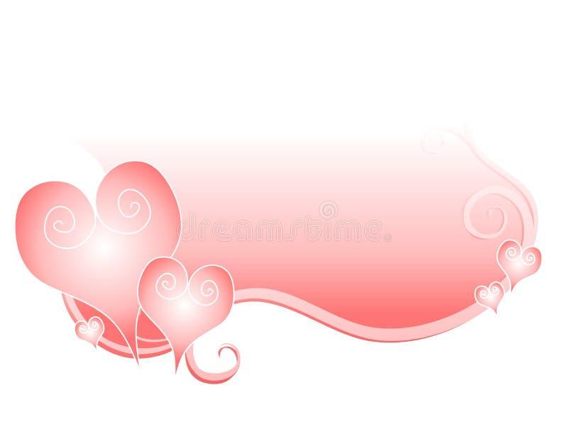Insignia rosada suave de Swoosh de los corazones de la tarjeta del día de San Valentín libre illustration