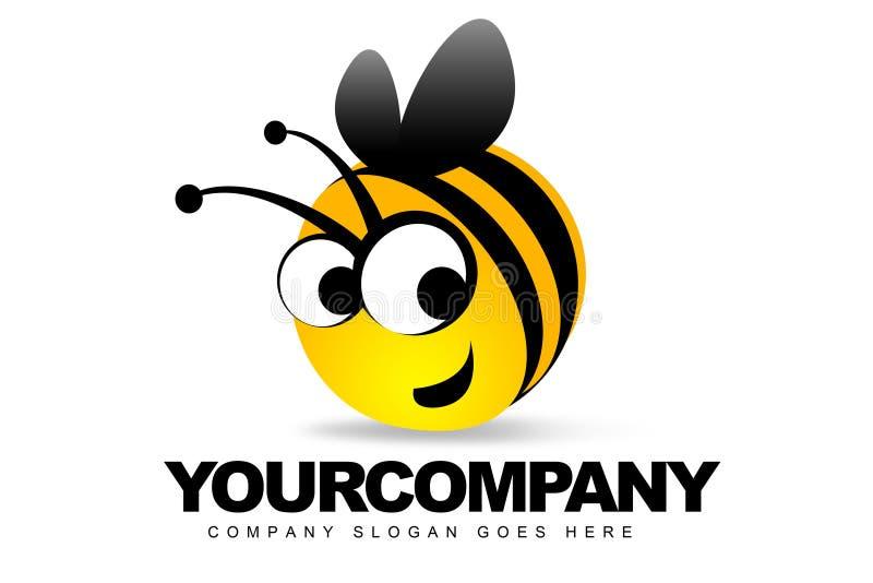 Insignia sonriente de la abeja ilustración del vector