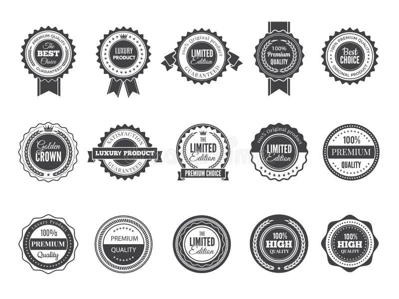 Insignia superior del vintage Mejores etiquetas o logotipos bien escogidos de alta calidad de lujo para la plantilla del negro de ilustración del vector