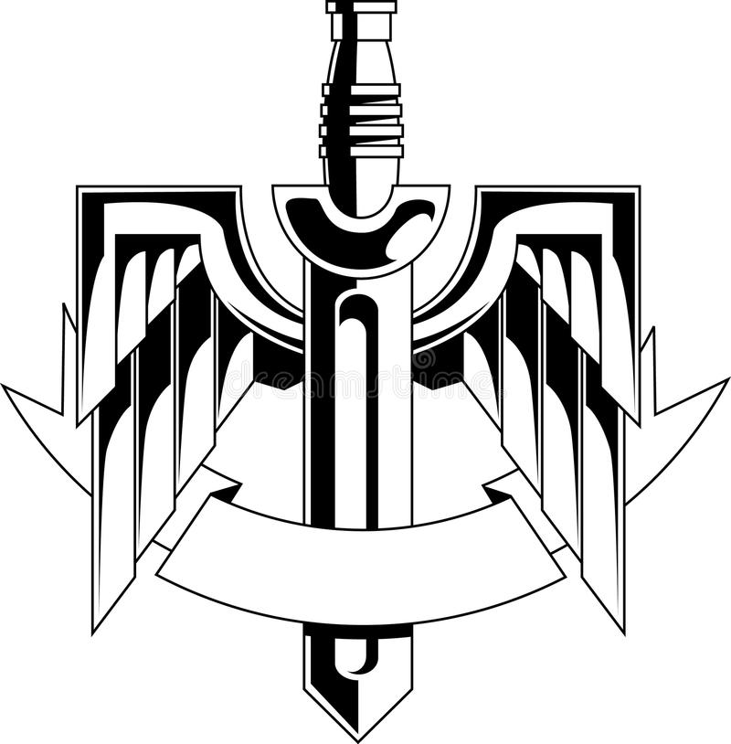 Insignia with sword royalty free stock photography