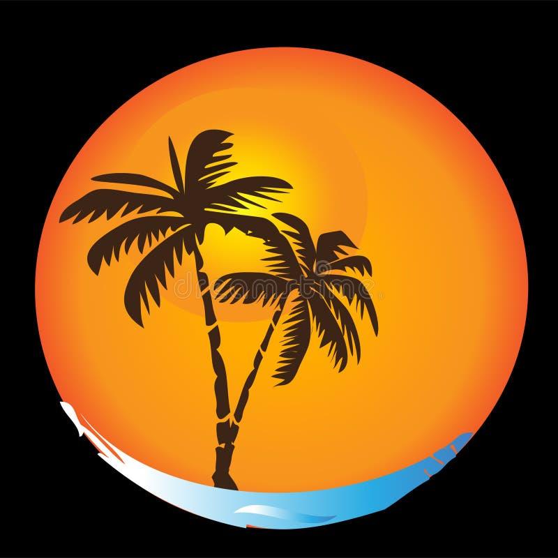 Insignia tropical de la playa del sol stock de ilustración