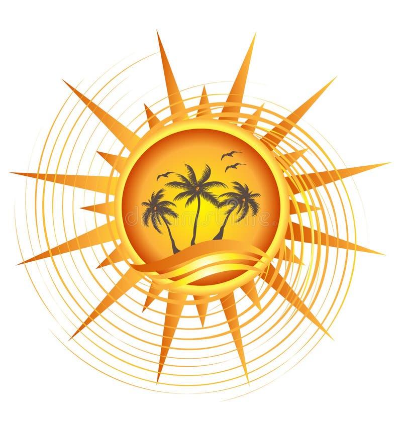 Insignia tropical del sol del oro stock de ilustración