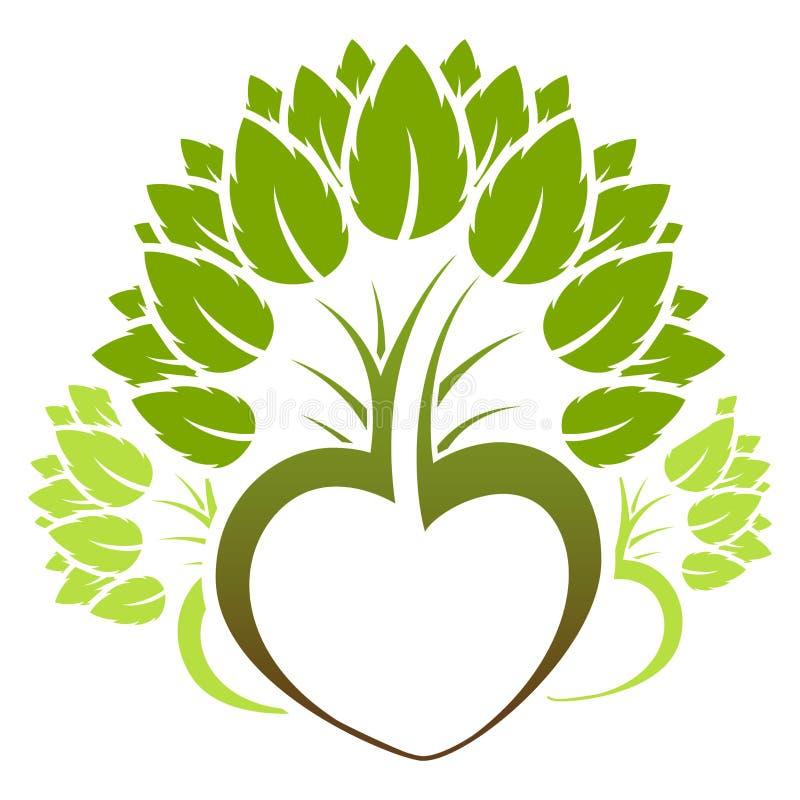 Insignia verde abstracta del icono del árbol ilustración del vector