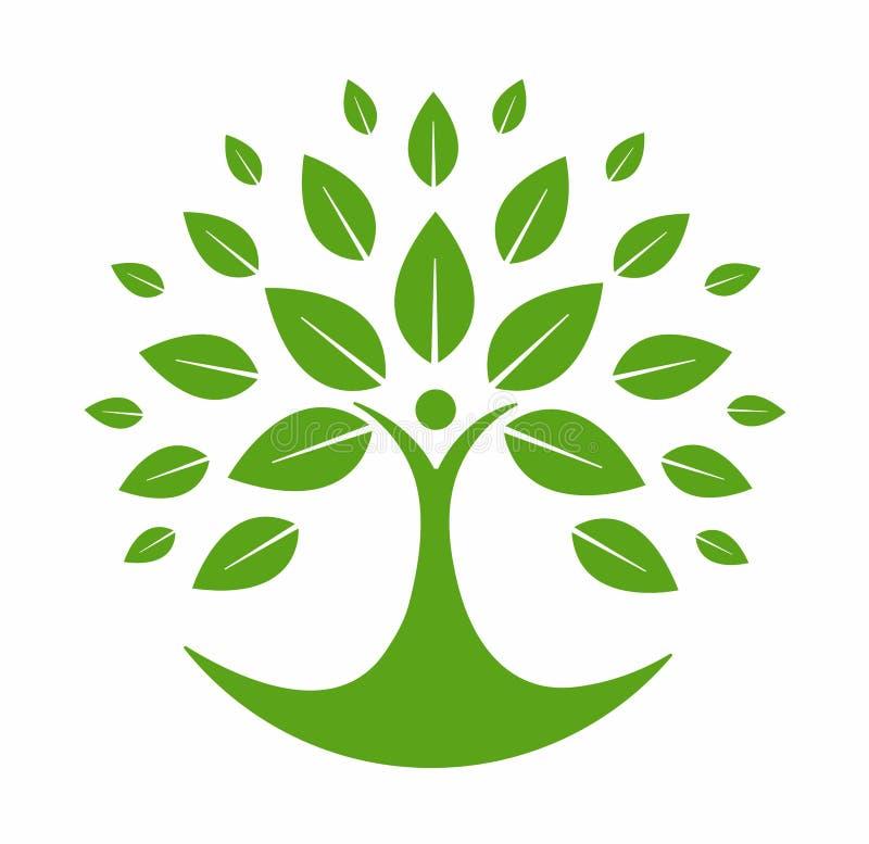 Insignia verde del árbol stock de ilustración
