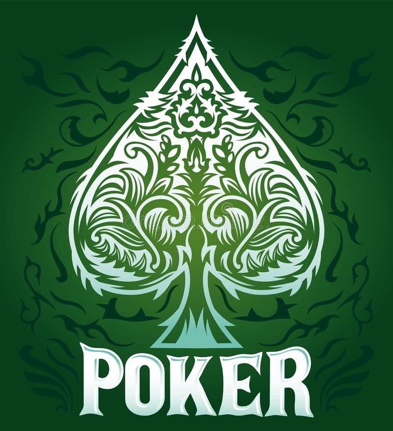Insignia verde del póker del vintage del terciopelo stock de ilustración