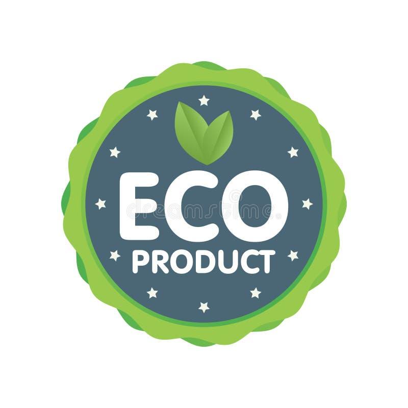 Insignia verde moderna Etiqueta del producto de Eco Ejemplo de la etiqueta engomada libre illustration