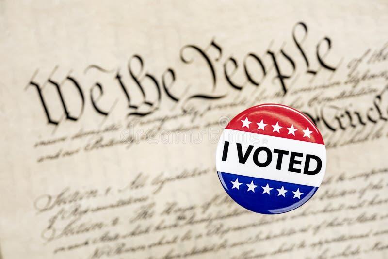 Insignia y constitución del voto imagen de archivo
