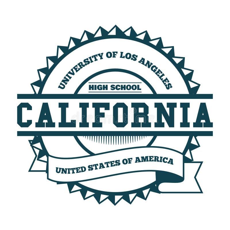 Insignia y etiqueta de California de la universidad Elemento del diseño, gráficos de la camiseta, vectores stock de ilustración