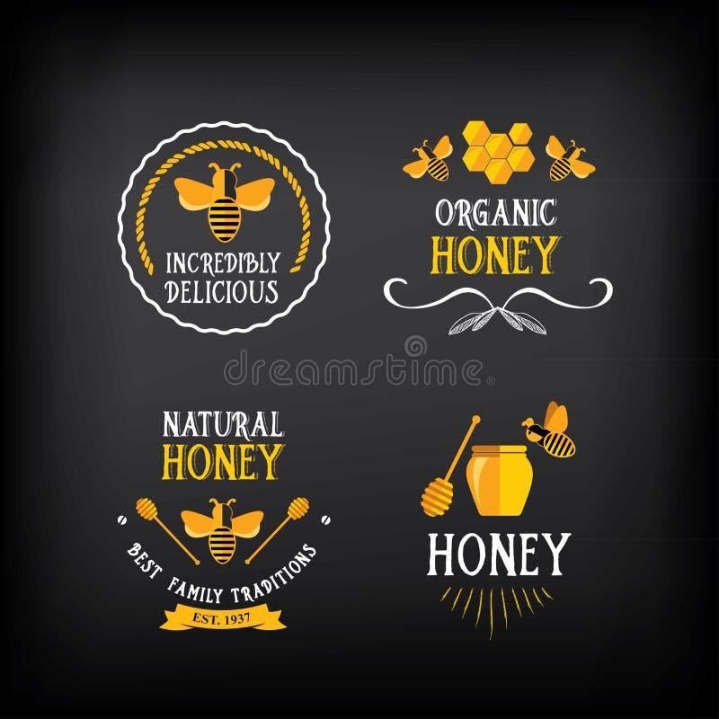 Insignia y etiqueta de la miel Diseño abstracto de la abeja Vector con el gráfico stock de ilustración