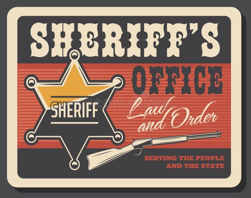 Insignia y pistola del sheriff occidental stock de ilustración