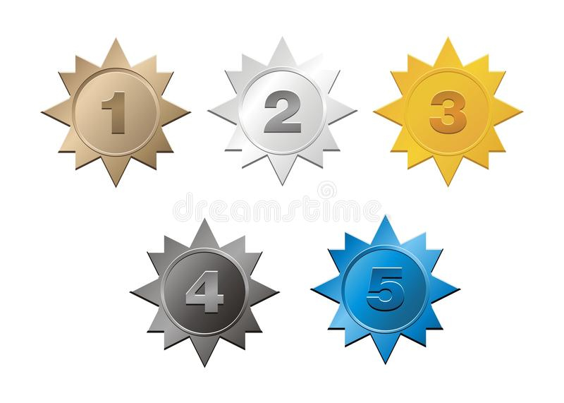 1,2,3,4,5 insignias ilustración del vector