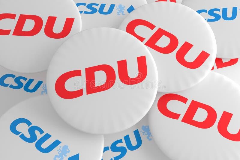 Insignias alemanas de la política de la elección: Pila de botones con el logotipo de los partidos políticos CDU y CSU, ejemplo 3d ilustración del vector