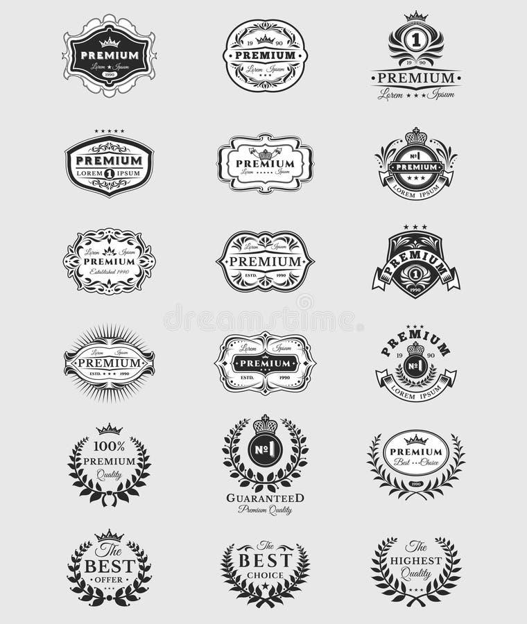 Insignias, calidad superior de las etiquetas engomadas aisladas en blanco libre illustration