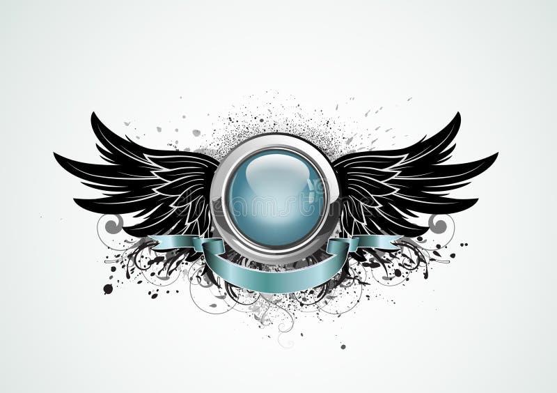 Insignias coas alas ilustración del vector