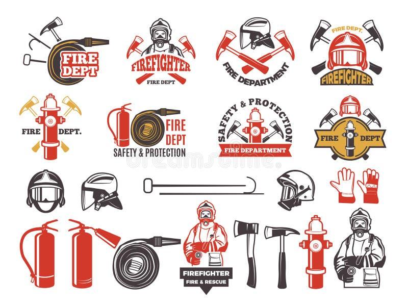 Insignias coloreadas para el departamento del bombero Sistema de símbolos de protección de la emergencia aislado en blanco stock de ilustración
