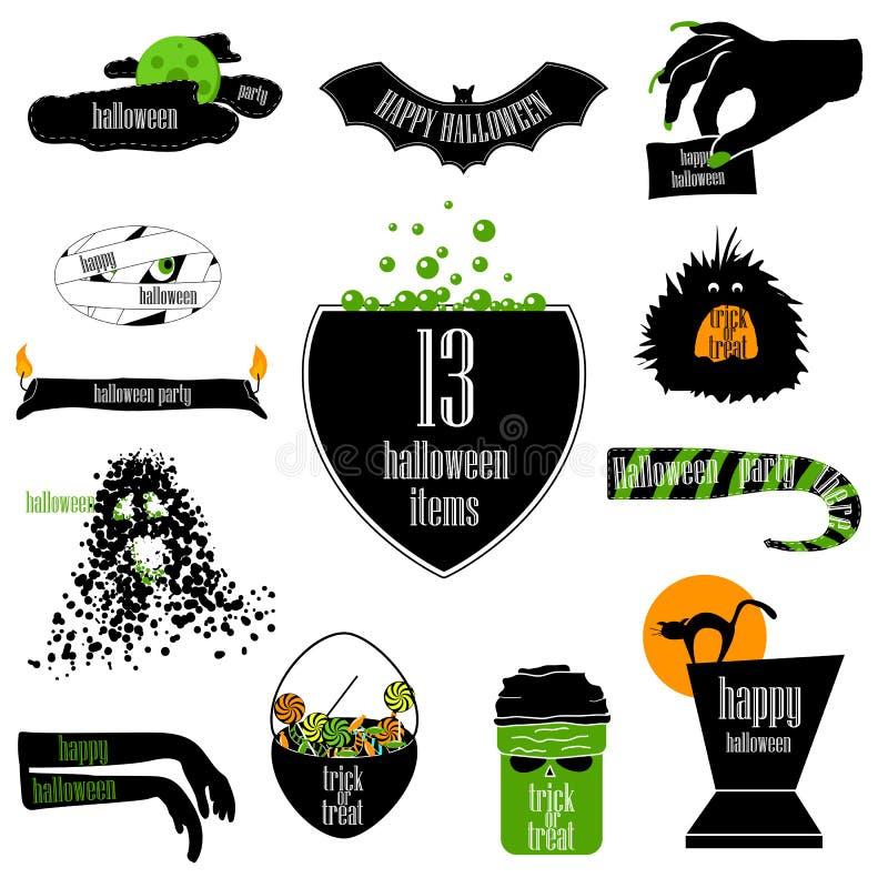 Insignias de Halloween Fondos del vector, cintas infographic y AR stock de ilustración