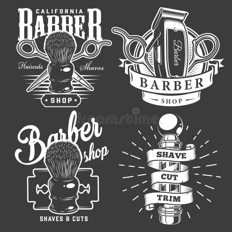 Insignias de la barber?a del vintage libre illustration