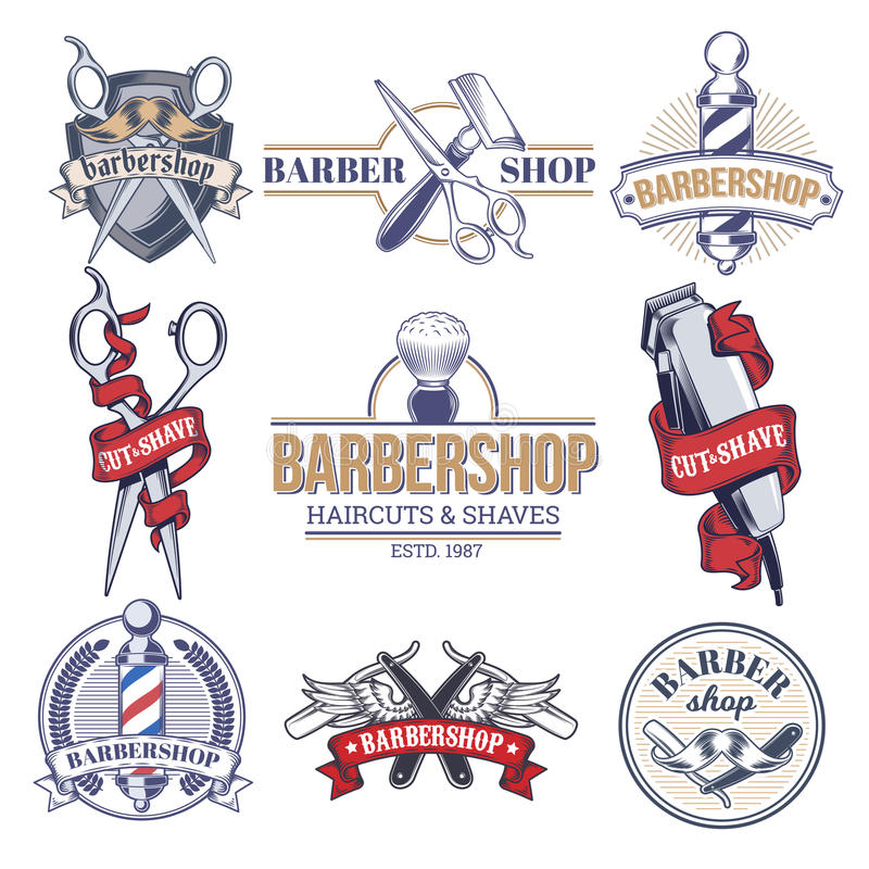 Insignias de la colección, logotipos con la barbería ilustración del vector