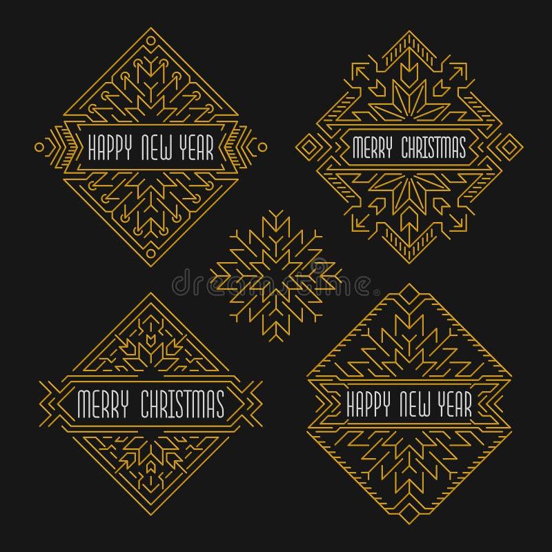 Insignias de la Feliz Navidad y de la Feliz Año Nuevo Capítulos en estilo del esquema Banderas de la Navidad libre illustration