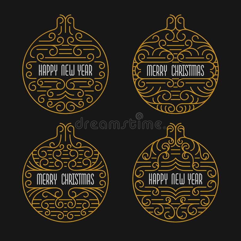 Insignias de la Feliz Navidad y de la Feliz Año Nuevo Capítulos en la línea estilo Banderas de los días de fiesta stock de ilustración