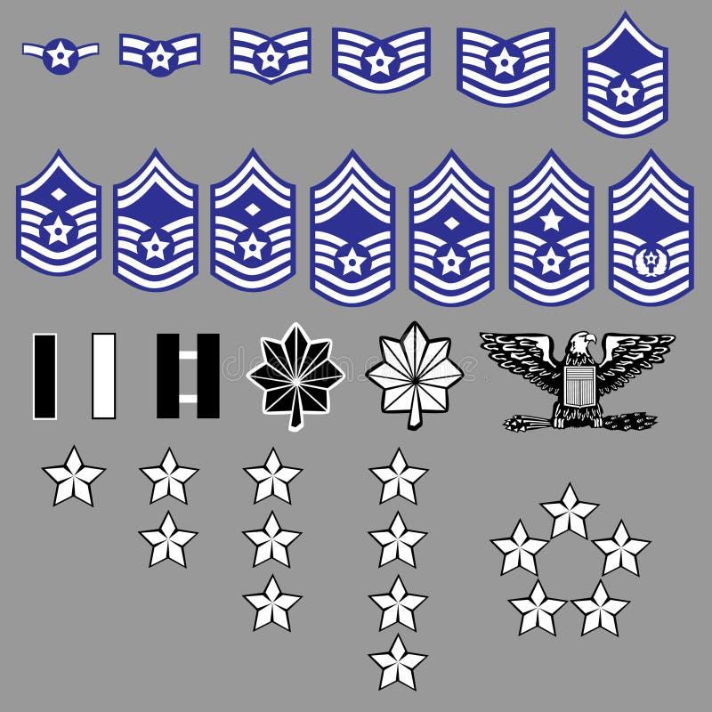 Insignias de la fila de la fuerza aérea de los E.E.U.U. ilustración del vector