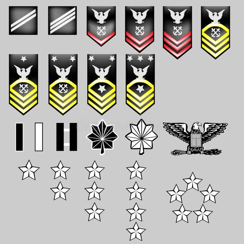Insignias de la fila de la marina de los E.E.U.U. - textura de la tela stock de ilustración