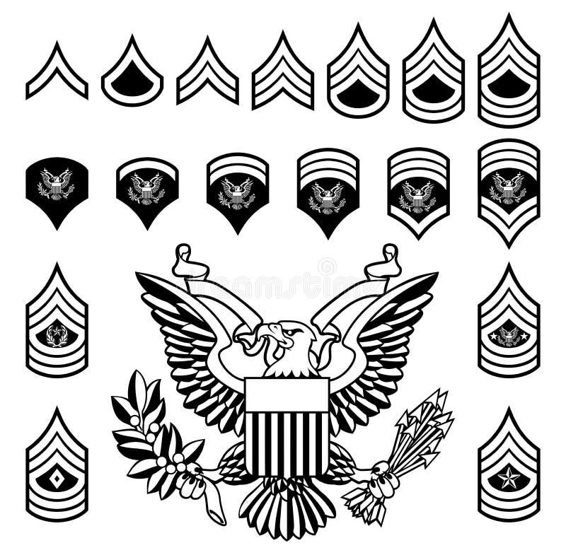 Insignias de la fila militar del ejército stock de ilustración