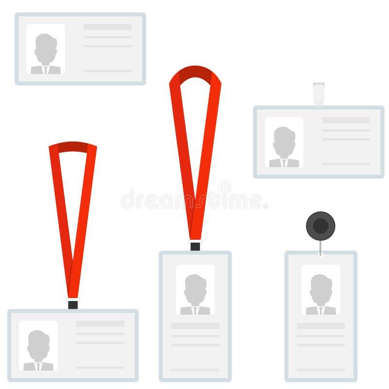 Insignias de la identificación del carné de identidad de los empleados Un sistema de carnés de identidad ilustración del vector