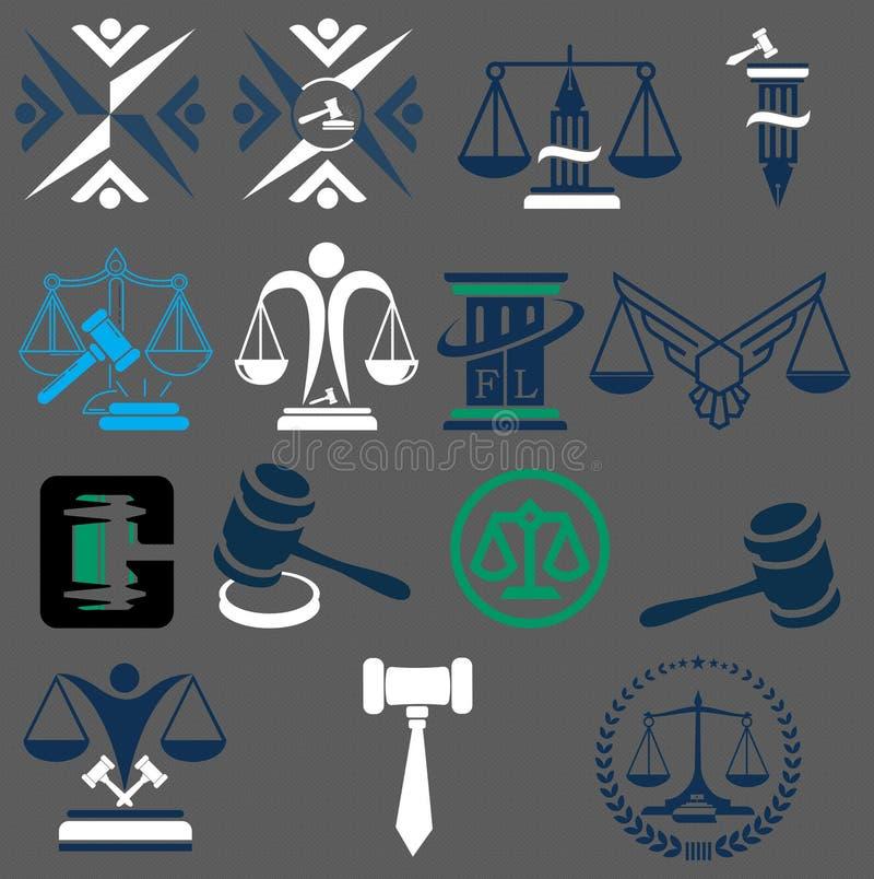 Insignias de la ley y legal Martillo del juez, ejemplos ilustración del vector