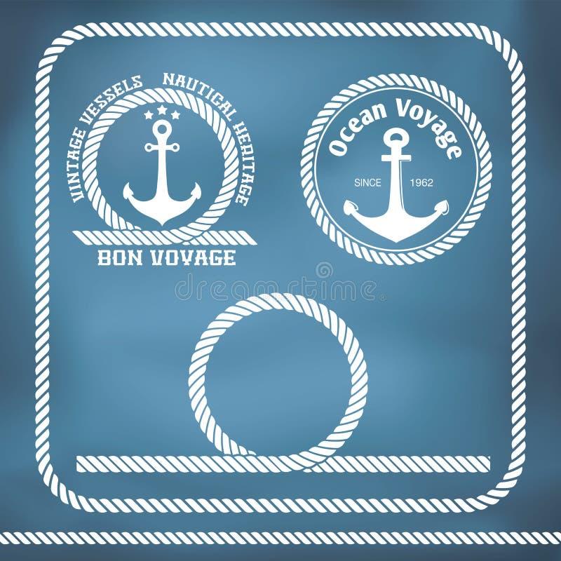 Insignias de la navegación con el ancla stock de ilustración