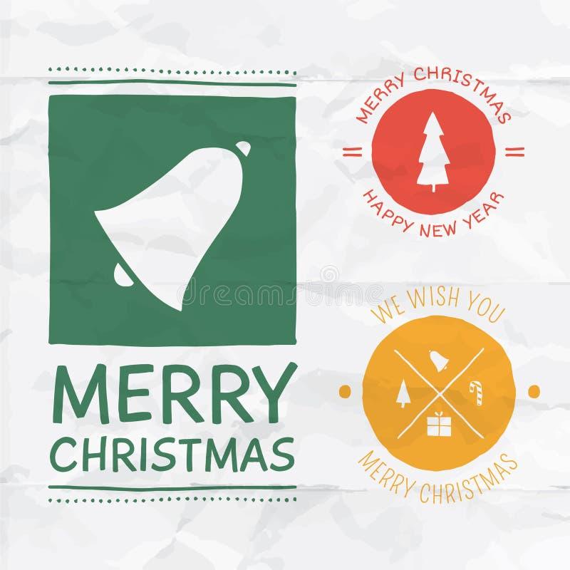 Insignias de la Navidad del vector stock de ilustración