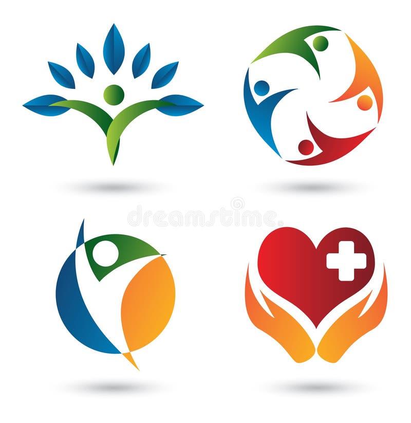Insignias de la salud stock de ilustración