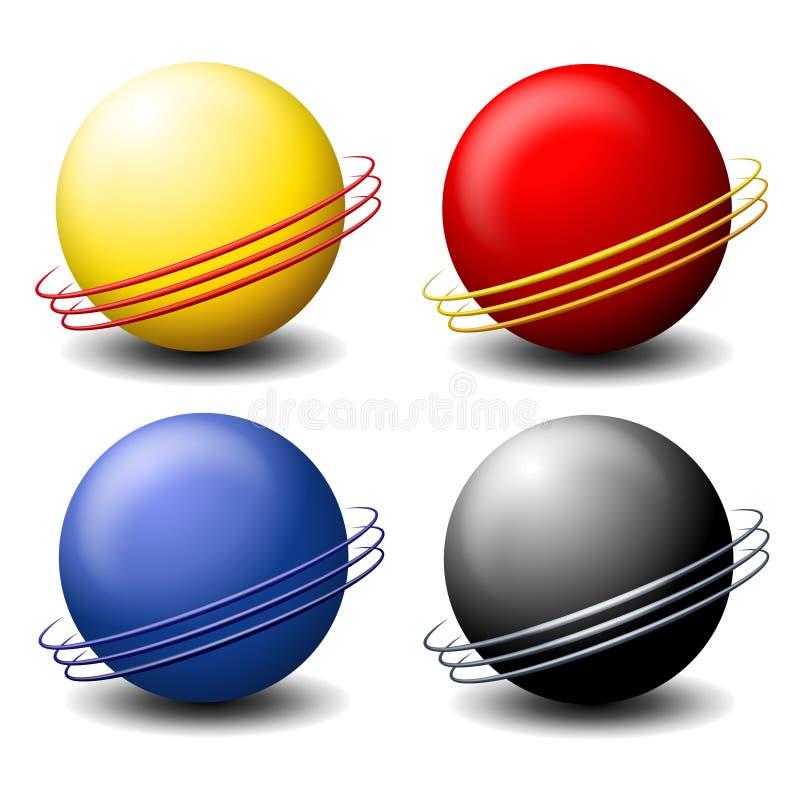 Insignias de las esferas de Saturno del alambre ilustración del vector