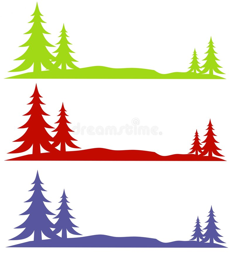 Insignias de los árboles de la nieve del invierno ilustración del vector