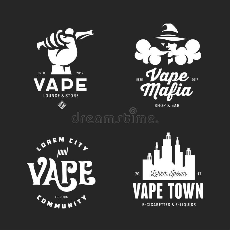 Insignias de los emblemas de las etiquetas de la tienda de Vape fijadas Ejemplo del vintage del vector ilustración del vector