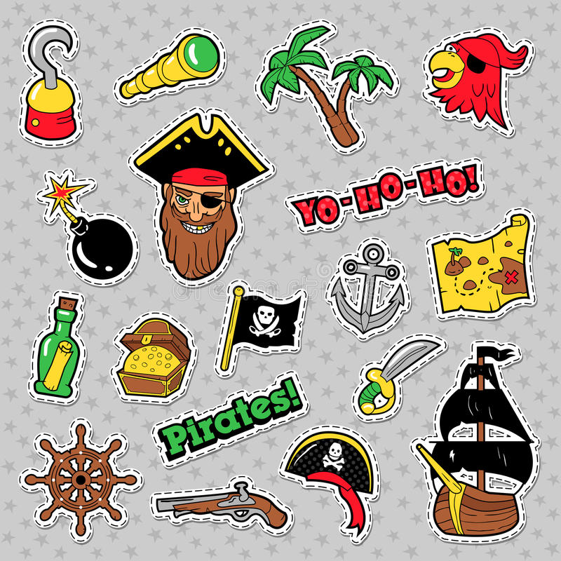 Insignias De Los Piratas, Remiendos Y Etiquetas Engomadas Con La ...