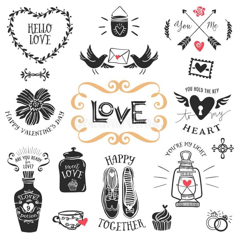 Insignias decorativas del amor del vintage con las letras Vector drenado mano stock de ilustración