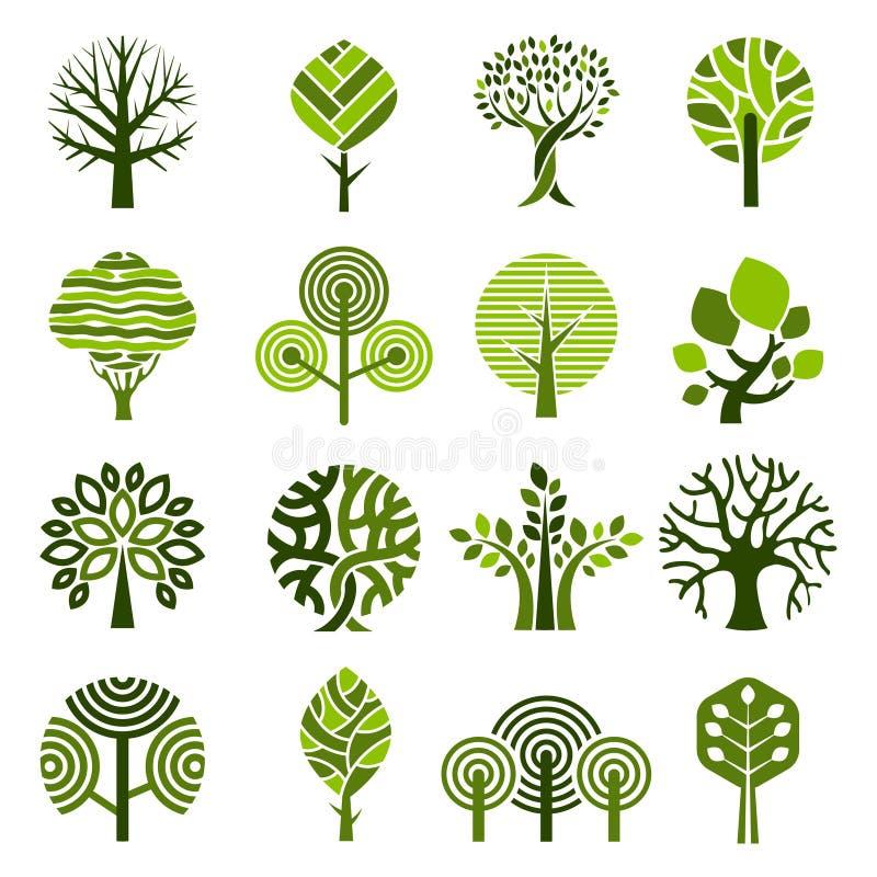 Insignias del árbol Emblema simple del vector de las plantas del crecimiento de la naturaleza de las imágenes gráficas abstrac ilustración del vector